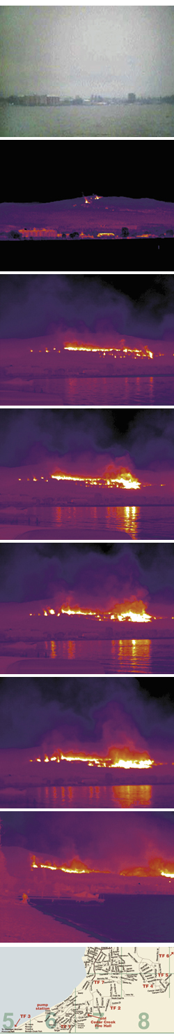 View with the naked eye from Gyro Beach at 1:21 p.m. Friday afternoon. Smoke obscures the fire action. The same view using an infra-red camera. Fire activity is minimal although the stage is set for the inferno to come. Two hours later at 3:21 p.m. the wind has started to whip up the fire. A minute later, at 3:22 p.m. the fire has already increased in size. Another minute later, at 3:23 p.m, the fire is even larger and has begun to quickly travel to the north and east. Two minutes later at 3:25 p.m., the blaze has exploded in both size and intensity. At 4:14 p.m., 50 minutes later, the fire has travelled several kilometres devouring numerous houses. Photos Curtis Bennett/Map courtesy Talking Guide.Com